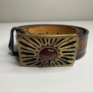 Vintage Brown Leather Brass sun Burst Stone Belt